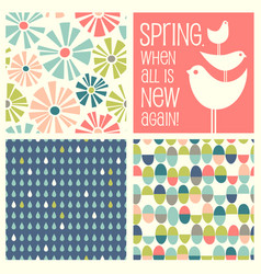 retro spring designs and seamless patterns vector image