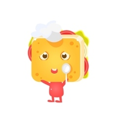 Sandwich Character In Coking Hat With Spoon vector