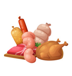 sausages and meat chicken vector image