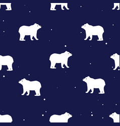Seamless pattern with cute polar bears in simple vector