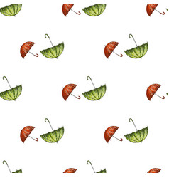 seamless pattern with red and green hand drawn vector image