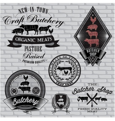 Set labels for butcher on a brick wall vector