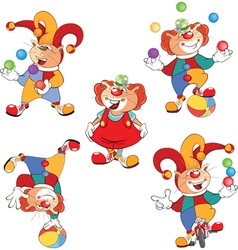 Set of Cartoon Cute Cats Clowns vector