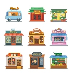 Set of nice showcases of shops Pizza trailer vector