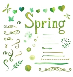 Set of watercolor spring elements vector