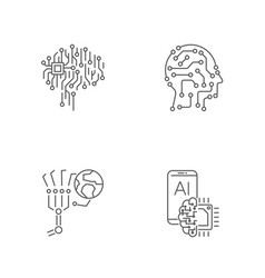 simple set of digital technology icons ai iot vector image