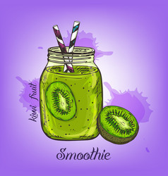 Sketch of kiwi smoothie in glass bottle vector
