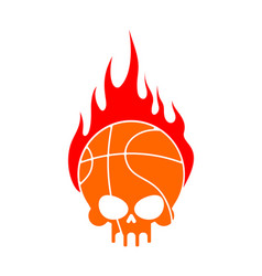 Skull basketball and fire ball is head of vector