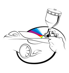 Spray gun in hand painting a car vector