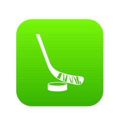 Stick and puck icon digital green vector
