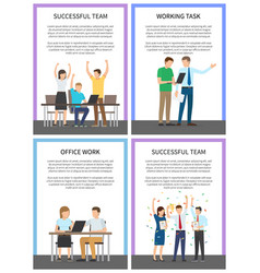 successful team posters set vector image