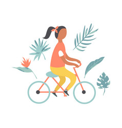 summer poster with pretty girl riding bicycle vector image