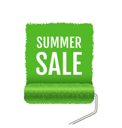 summer sale with paint roller and paint stroke vector image