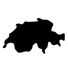 switzerland - solid black silhouette map of vector image