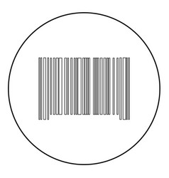 the barcode the black color icon in circle or vector image