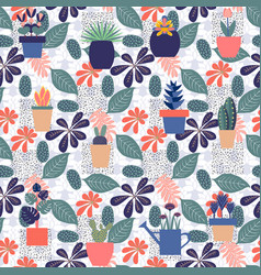 Trendy seamless pattern with foliage vector