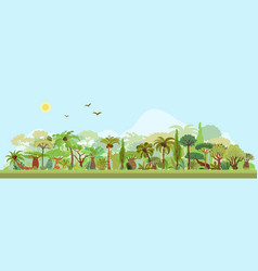 tropical rainforest landscape with palms vector image