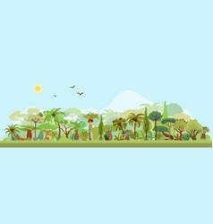 tropical rainforest landscape with palms vector image