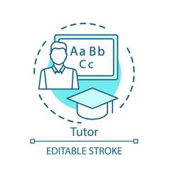 Tutor concept icon private teacher idea thin line vector