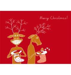 Two cheerful deer vector image