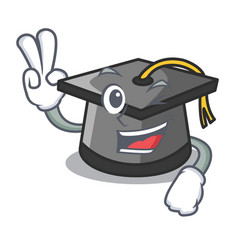Two finger graduation hat character cartoon vector