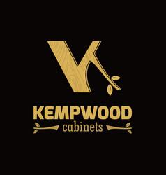 unique initial letter k woods logo vector image
