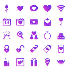 valentines day gradient icons on white background vector image