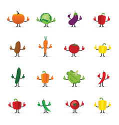 vegetables cartoon with hands vector image