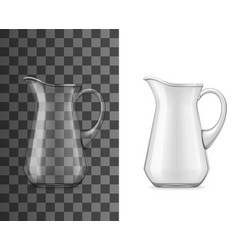 Water glass jug realistic 3d mockup vector