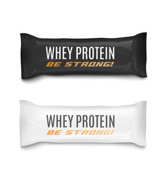 Whey protein food bars packaging set realistic vector