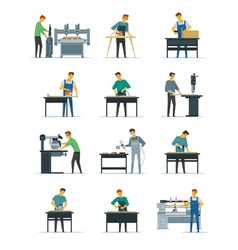 Woodworking carpenter service flat icons vector