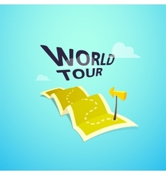 World tour concept logo long route in travel map vector image