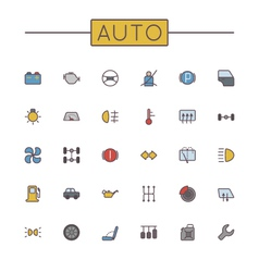 Colored Auto Line Icons vector image