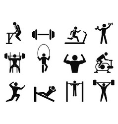 Gymnasium and Body Building icons vector image vector image