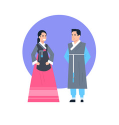 korea traditional clothes asian couple wearing vector image