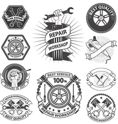 repaire workshop labels set vector image vector image