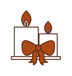two candle burning christmas ribbon celebration vector image vector image