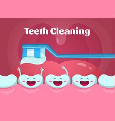 cartoon of cute and funny teeth in vector image