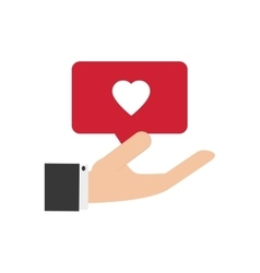 hand holding heart notification icon vector image