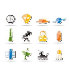 simple astronautics and space icons vector image vector image