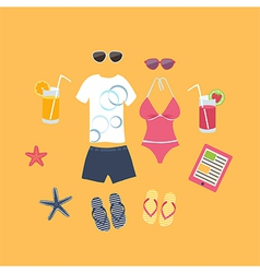 Summer vacation set of icons vector image vector image