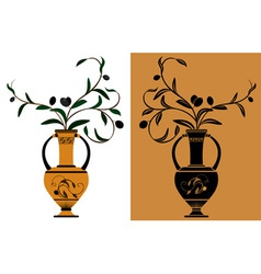Ancient Greek amphora with olive vector image