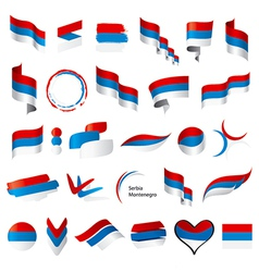 biggest collection of flags of Serbia Montenegro vector image vector image