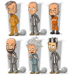 cartoon prisoners with chains character set vector image