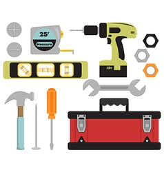 Colorful Tools and Toolbox Set vector image