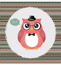 Hipster Owl in Textured Frame design vector image
