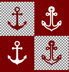 anchor icon bordo and white icons and vector image vector image