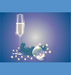 champagne full wineglass transparent glass vector image