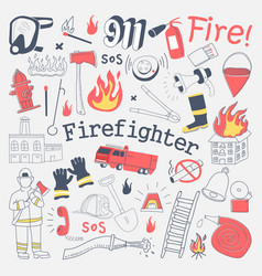 Firefighter freehand doodle fireman vector
