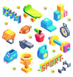 isometric sport icon set vector image